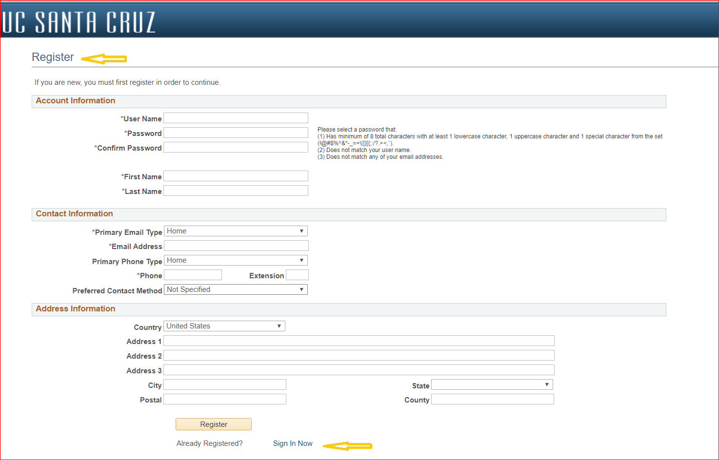 screenshot of the register screen.