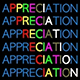 Image of the word appreciation in a rainbow of colors.