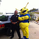 UC Police Officer with our mascot - Sammy the Slug.